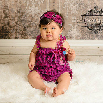 Baby Girl's romper,Raspberry Plum Lace Romper,newborn going home outfit,1st Birthday outfit, Baby girls' clothing,baby shower gift,baby girl