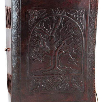 Tree of Life Leather Covered Journal with Cord 7 inches by 10 inches