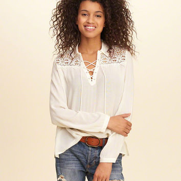 Girls Easy Lace-Up Shirt | Girls New Arrivals | HollisterCo.com