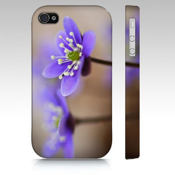 iPhone Case, iPhone 4/4S, iPhone 5, Samsung Galaxy S3 and S4, Lavender Blue Flower, Hepatica, Photography, Spring Flower, Gift for Her