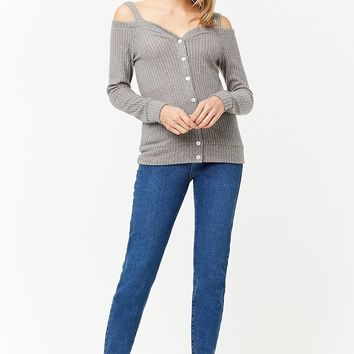 Brushed Knit Open-Shoulder Top