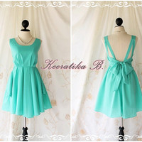 A Party Dress V Shape - Cocktail Dress Wedding Bridesmaid Dress Party Prom Dress Backless Dress Homecoming Mint Green Dress