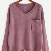 Purple V Neck High Low Hollow Back Pocket Sweater