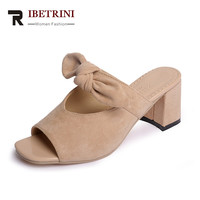RIBETRINI 2017 Summer Solid Sweet Knot Mules High Square Heel For Leisure Footwear Shallow Slip-on Women Shoes Size 35-39
