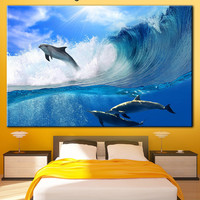 Dolphins, Ocean waves, Dolphins canvas, Under the sea, Sea life, Blue sea, Sea wall print, Sea wall art, Dolphin wall canvas, Sea life print