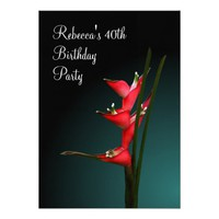 "Heliconia Stricta Red Flowers Party Invitation 5"" X 7"" Invitation Card"
