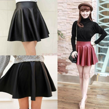 Women Retro Synthetic Leather High Waist Skater Flared Pleated Mini Skirt SV000993 One Size = 1745493124