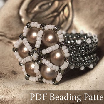 Easy beaded ring pattern, Sibyl ring tutorial, step by step beading tutorial, DIY, PDF