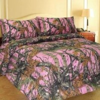 PINK FOREST CAMO 6-Piece Sheet and Pillowcase Set -Full-