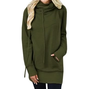 Olive Funnel Neck Long Sleeve Pocket Hoodie