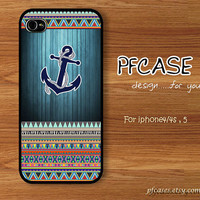 Anchor on wood dark-light blue pattern : Handmade Case for Iphone 4/4s , Iphone 5