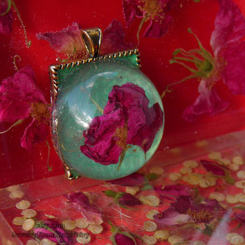 Rose pendant. Unusual handmade red green pendant with natural flower. Plant pendant #76.