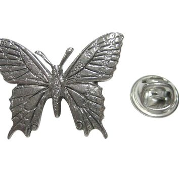 Silver Toned Textured Large Butterfly Lapel Pin