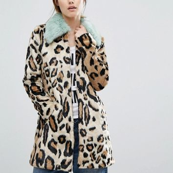 Urbancode Faux Fur Leopard Print Coat With Faux Fur Collar at asos.com