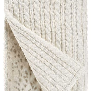 Ivory Cable Knit & Lynx Faux Fur Throw Blanket by Fabulous Furs