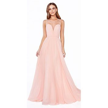 Long A-Line Chiffon Dress Blush Illusion Neckline And Open V-Back