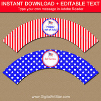 Printable 4th of July Party Decorations - July 4th Cupcake Wrappers - Independence Day Party Decor - DIY Red White and Blue Party Supplies