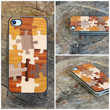 Wooden Puzzle iPhone 4 4S Case. Exclusive iPhone 4 4s case from 5 wood types - FREE Shipping - Handmade in Europe