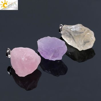 CSJA Natural Gem Stones Clear Crystal Necklaces & Pendants Reiki Healing Irregular White Yellow Purple Pink Quartz Pendulum F070