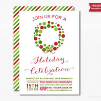 Christmas Wreath Holiday Party Invitation Printable Digital File Holiday Celebration DIY Invite
