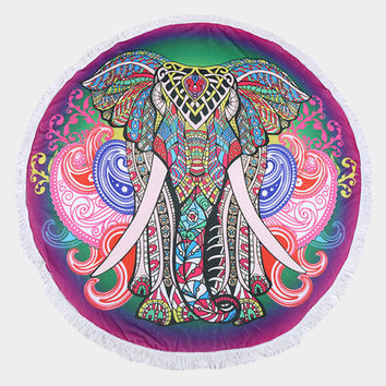 Boho Purple Multi-Color Elephant Round Terry Towel Multi-way Round Beach Throw with Tassel Trim Beach blanket / Beach towel / Wrap / Rug
