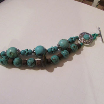 Turquoise December Birthstone Wood and Metal Bracelet, Natural Turquoise Beads Bracelet, Multi Layer, Multi Strand