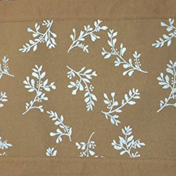 Reversible Gold and Embroidered Metallic Silver Leaves Placemats