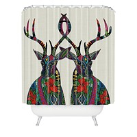 Sharon Turner Poinsettia Deer Shower Curtain