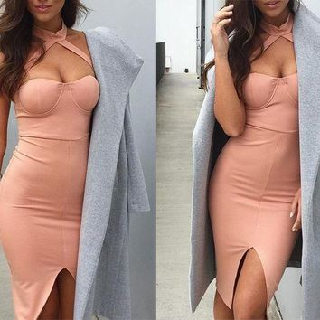 ESBOND Elegant halter pink bandage dress Sexy front split evening party bodycon dresses