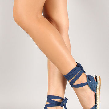 Bamboo Denim Espadrille Lace Up Flat Sandal