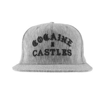 Mens Woven Snapback Cocaine Castles In Heather Black