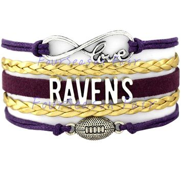 Custom-Infinity Love Baltimore Ravens Football Charm Wrap Braided Leather Bracelet bangles For Football Fans-Drop Shipping