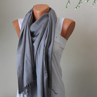 Gray Pashmina Scarf-Silver scarf-Gray Pashmina Scarf-gray Pashmina-pashmina -Bridesmaid gitf-Wedding Shawl-wedding scarfs-bridesmaid