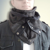 Multifunctional Gray and Black Adjustable Men Women Unisex soft WOOL Cozy Scarf Cowl Hood with natural Leather Snaps and Cord.