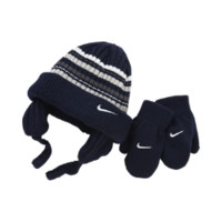 Nike Striped Toddler Knit Hat And Mittens Set (Black)