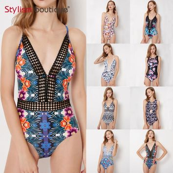 Plunge Deep V Neck One Piece Swimsuit Print Women Swimwear Bandage Bathing Suit Beachwear Swimming Suit for Women Monokini 2018