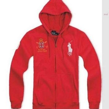 Beauty Ticks Ralph Lauren Club Big Pony Hoodies Red