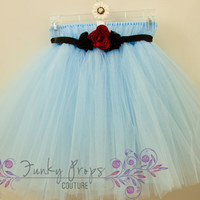 Alice in Wonderland baby blue  tulle tutu dress with satin flower bust FLOWER GIRL Easter pageants photo shoots