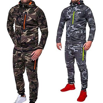 Men's Autumn Winter Snowboarding Camouflage Top Pants Slim Sports Suit Tracksuit Hoodies Camo Suit Long Sleeves Sweatshirt