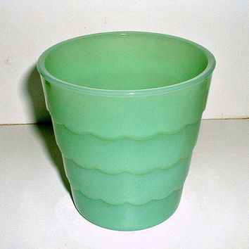 Fire King Jadite Flower Pot Scalloped Jadeite Glass Vintage Planter Pot