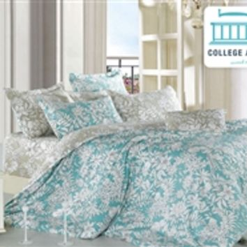 Ashen Teal Twin XL Comforter Set - College Ave Designer Series Dorm Bedding For College Students Best Supplies For Dorms