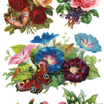 Butterfly Roses Victorian Stickers
