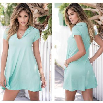 Loose Fit Mini Dress Featuring Short Dolman Sleeves