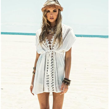 White Beach Dress with Lace