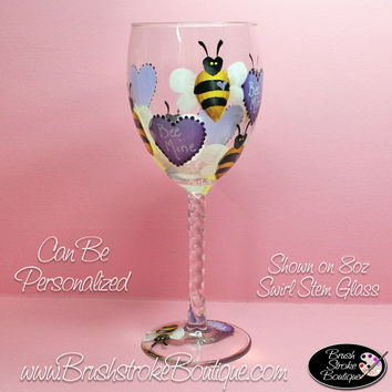 Hand Painted Wine Glass - Bee Mine - Original Designs by Cathy Kraemer