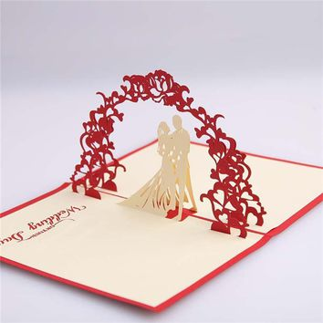 10 PCS New Red Unique Design 3D Bride Groom Wedding Invitation Cards With Envelopes Seals