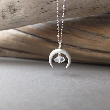 Crescent Moon Herkimer Pendant, Celestial Necklace, Moon Jewelry, Minimalist Jewelry, April Birthstone, Dainty Silver Moon, Holiday Gifts