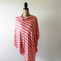 Striped Poncho/ Nursing Poncho/ Breastfeeding Poncho/ Nursing Cover/ Nursing Shawl/ Summer Poncho/ Summer Shawl/ New Mom Gift