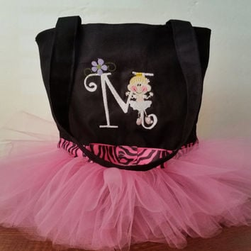 Girls tutu tote bag, personalized tote bag, dance bag, ballerina tote bag, black with pink tulle, custom embroidered
