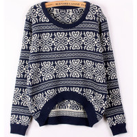 RETRO SNOWFLAKE STRIPED SWEATER LOOSE